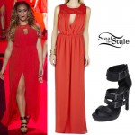 Dinah Jane Hansen: Red Dress, Buckle Sandals