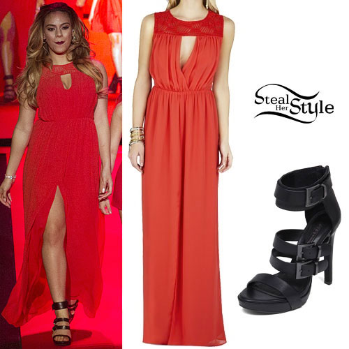 Dinah Jane Hansen: Red Dress, Buckle Sandals