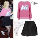 Dove Cameron: Pink 'Ken' Sweater, White Converse