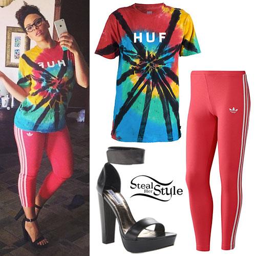 Elle Varner: Tie Dye T-Shirt, Red Leggings