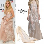 Ellie Goulding: Embroidered Gown, Mesh Pumps