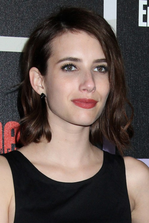 emma roberts wavy dark brown bob long bob hairstyle
