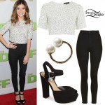 G. Hannelius: Sequin Top, Black Skinny Jeans