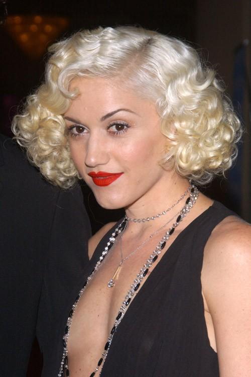 Gwen Stefani Curly Platinum Blonde Retro Hairstyle Steal