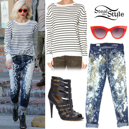 Gwen Stefani: Striped Sweater, Painted Jeans