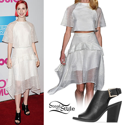 Hayley Williams: White Mesh Stripe Top & Skirt