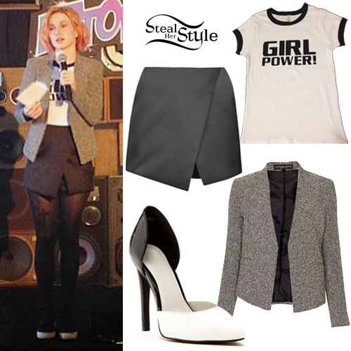 Hayley Williams: Tweed Blazer, 'Girl Power' Tee