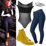 Hayley Williams: Mesh Bodysuit, Yellow Converse