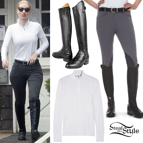 Iggy Azalea: White Zip Top, Riding Boots