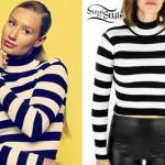 Iggy Azalea: Striped Mock Neck Sweater