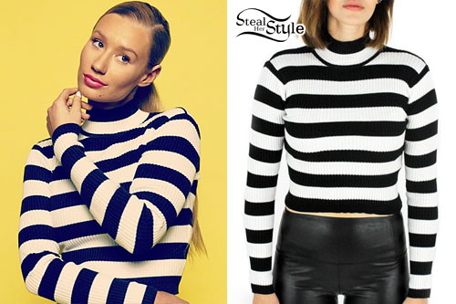 Iggy Azalea: Striped Mock Neck Sweater
