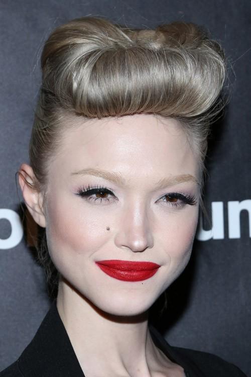 Ivy Levan Straight Ash Blonde Bun Updo Hairstyle Steal