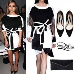 Jade Thirlwall: Monochrome Dress, Suede Pumps