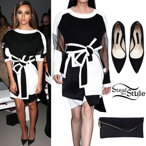 Jade Thirlwall: Monochrome Dress, Suede Pumps