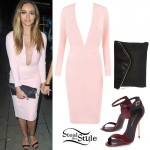 Jade Thirlwall: Pink Plunge Dress, Burgundy Sandals