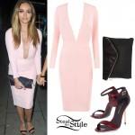 Jade Thirlwall: Pink Plunge Dress, Burgundy Sandals