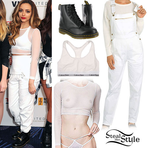 Jade Thirlwall: Mesh Crop Top, White Overalls