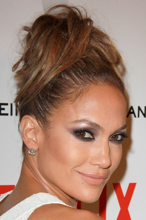 Jennifer Lopez Straight Medium Brown Updo Hairstyle Steal Her Style