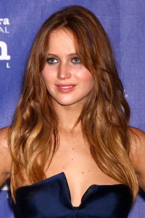 Jennifer Lawrence Wavy Medium Brown Loose Waves Ombr Hairstyle
