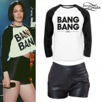 Jessie J: 'Bang Bang' Raglan, Leather Shorts