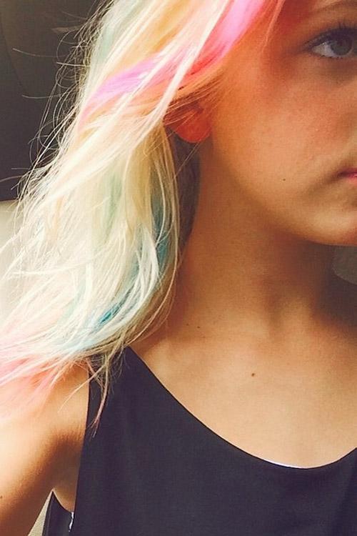Jordyn Jones Straight Platinum Blonde Messy Rainbow