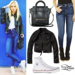 Jordyn Jones: Leather Jacket, Skinny Jeans
