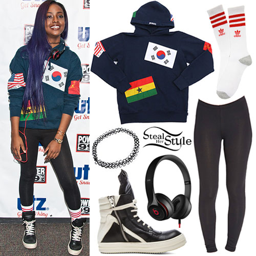 Justine Skye: Flags Hoodie, Leather High-Tops