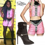 Justine Skye: Pink Sequin Top & Shorts