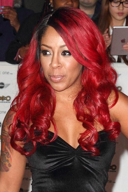 K. Michelle Wavy Red Barrel Curls, Dark Roots Hairstyle ...