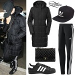 Katy Perry: Black Parka, Adidas Pants
