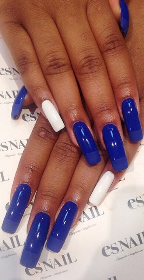 Keke Palmer Blue, White Nails | Steal Her Style