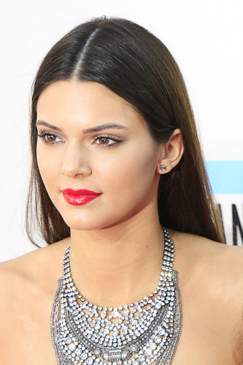kim kardashian straight hairstyles : Kendall Jenner Straight Dark Brown Flat-Ironed Hairstyle Steal Her ...
