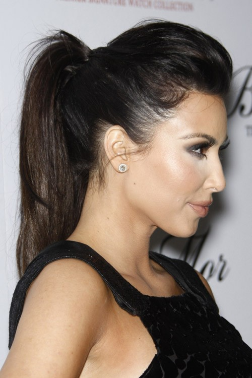 kim kardashian straight dark brown high ponytail