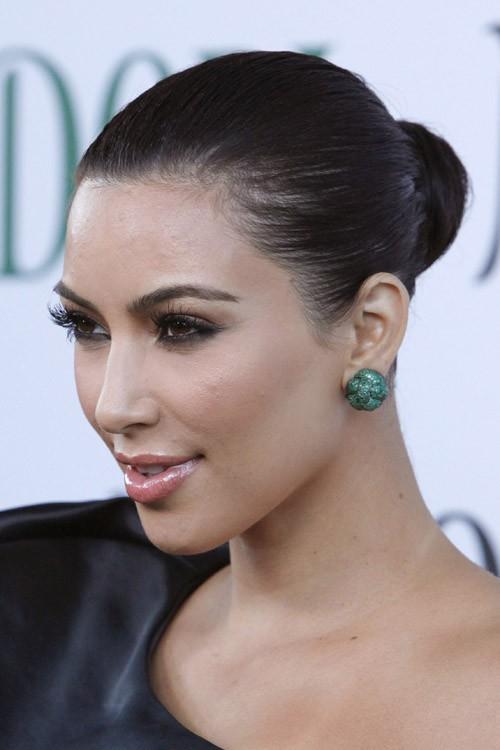 Kim Kardashian Straight Dark Brown Bun Slicked Back Updo Hairstyle