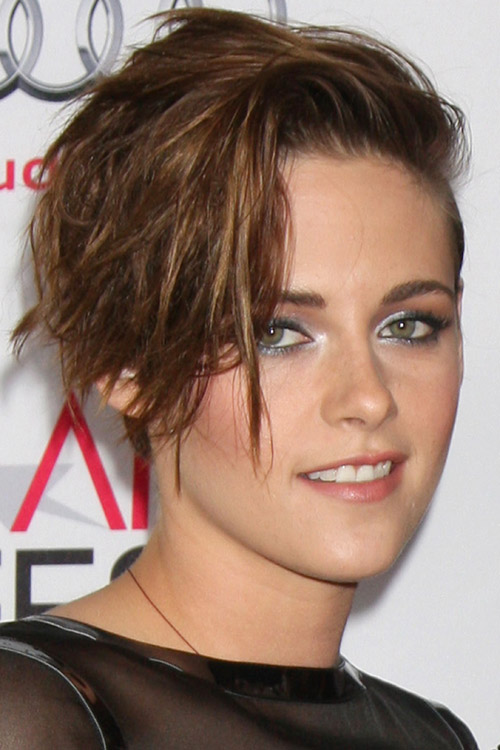Kristen Stewart Straight Dark Brown Choppy Layers Messy