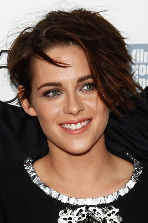 Kristen Stewart Straight Dark Brown Choppy Layers Messy Side Part Hairstyle