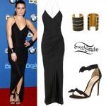 Lea Michele: Black Dress, Bow Sandals