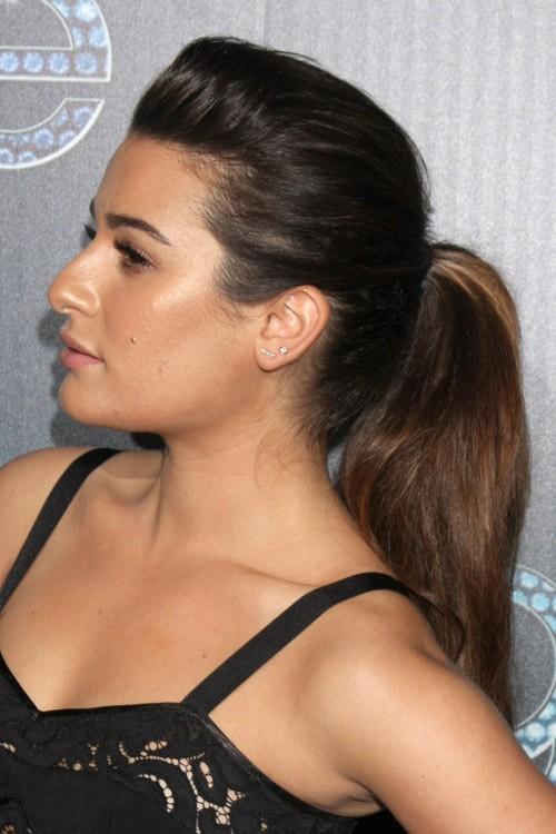 Lea Michele Straight Medium Brown High Ponytail Pompadour Ponytail