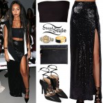 Leigh-Anne Pinnock: Bandage Top, Sequin Skirt