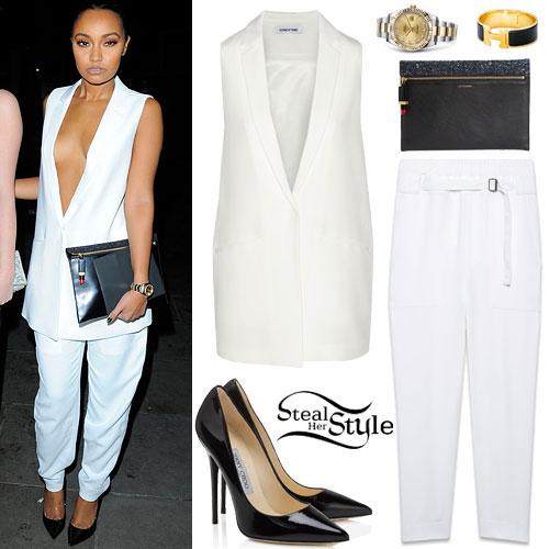 Leigh-Anne Pinnock: White Vest & Trousers