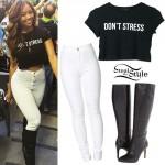 Liane V: 'Don't Stress' Tee, White Jeans