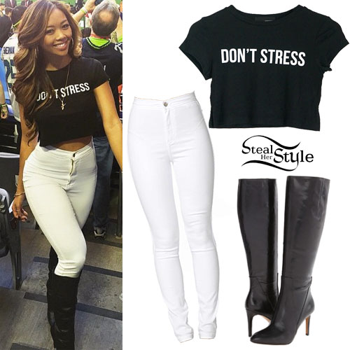 Liane V: 'Don't Stress' Tee, White Jeans