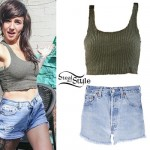 LIGHTS: Olive Ribbed Crop Top