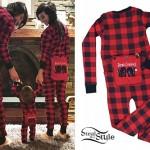 LIGHTS: Red Plaid Onesie Pajamas