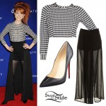 Lindsey Stirling: Houndstooth Top, Patent Pumps