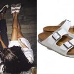 Lorde: White Birkenstock Sandals