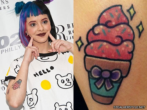 Melanie martinez bow ice cream forearm tattoo steal her for Tattoo of ice cream cone on face