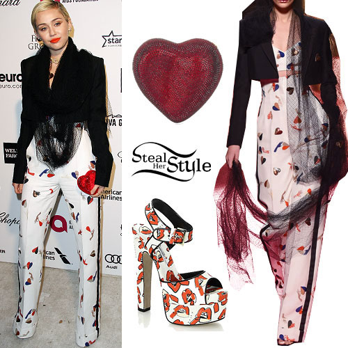 Miley Cyrus: Print Pants & Bralet, Lip Print Sandals