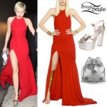 Miley Cyrus: Red Dress, Silver Platform Sandals