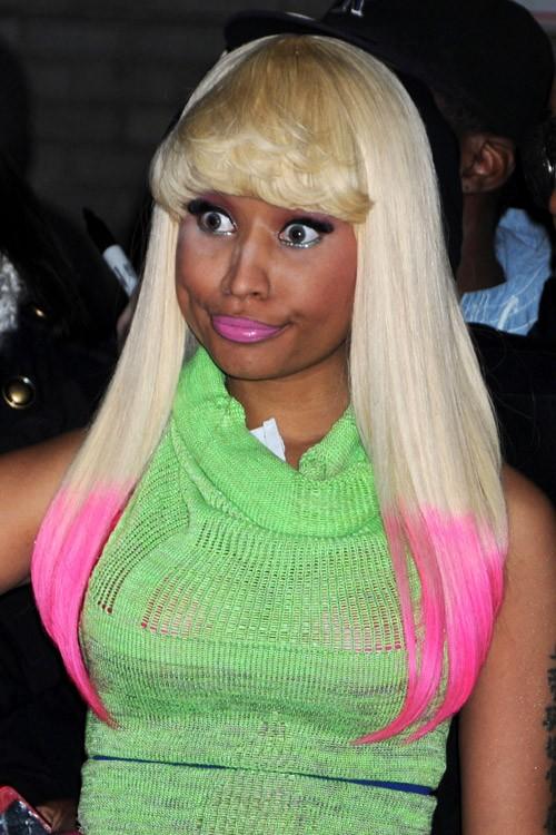 Nicki Minaj Straight Platinum Blonde Angled Blunt Bangs
